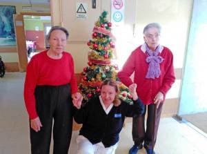 Arbol de Navidad en Ntra. Sra. del Pilar de Collado junto a personal y residentes