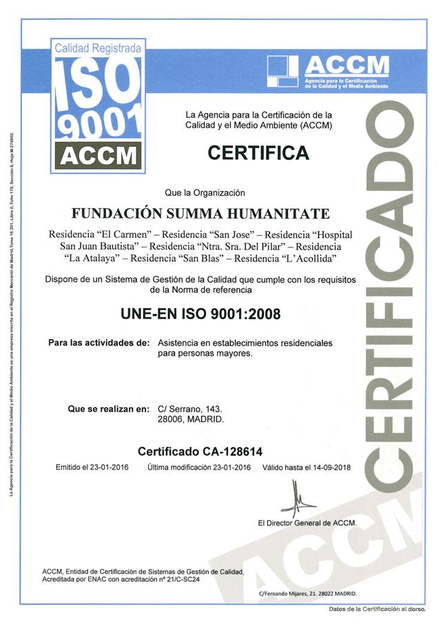 certificación de calidad UNE-EN ISO 9001:2008