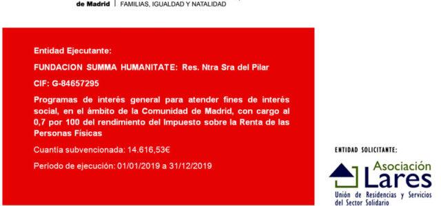 La Residencia Nuestra Señora del Pilar de Collado, ha recibido una subvención de la Comunidad de Madrid